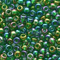 Бисер чешский Preciosa 51060, Круглый, Цвет:Прозрачный, радужный, зелёный, яркий. 10/0 50 грамм/уп
