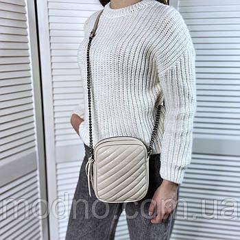 Женская кожаная итальянская сумка через плечо на два отделения Vera Pelle