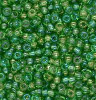 Бисер чешский Preciosa 51100, Круглый, Цвет:Прозрачный, радужный, бледно-зелёный, светлый. 10/0 50 грамм/уп