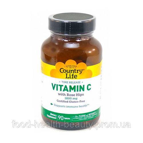 Витамин C и шиповник таблетки 1000 мг №90 ТМ Кантри Лайф / Country Life