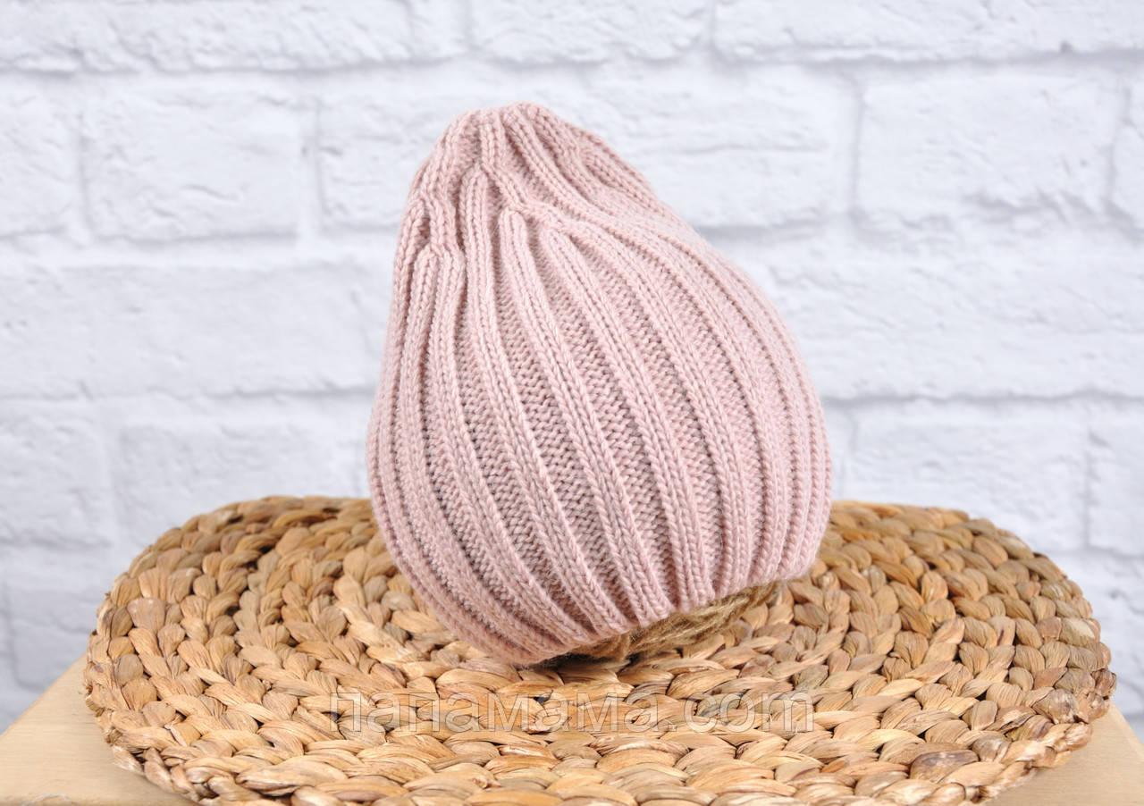 """Вязаная шапочка """"Alen"""", пудровая"""