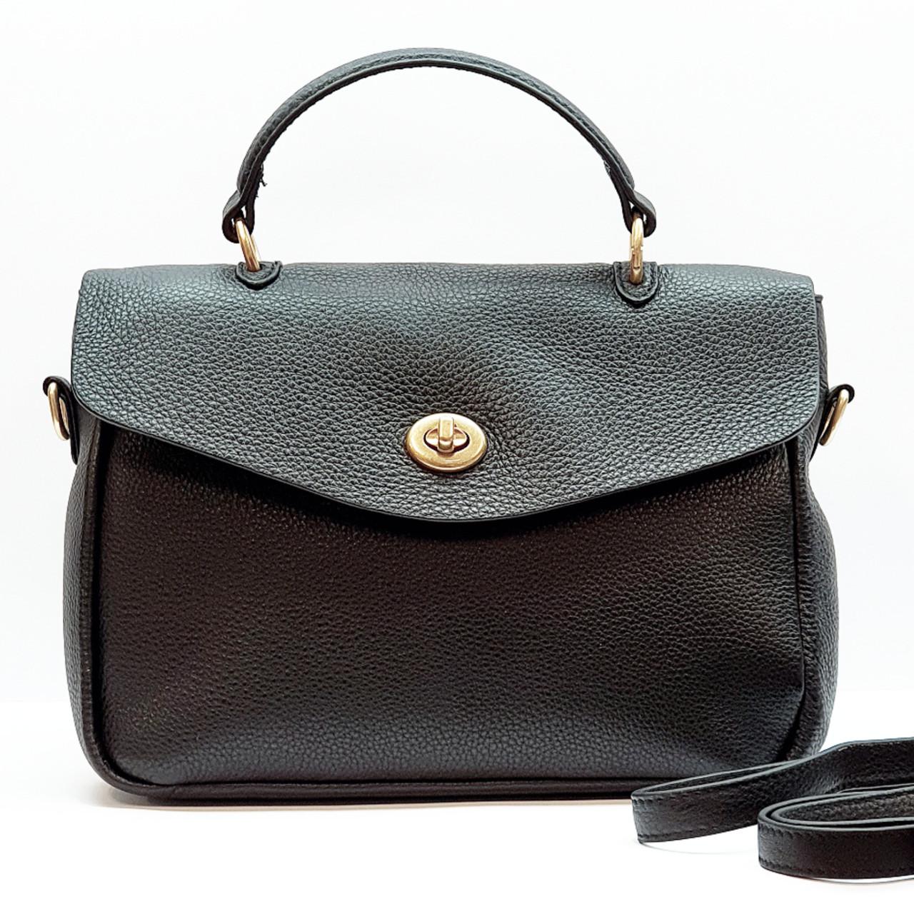 Женская черная сумка из натуральной кожи средняя повседневная