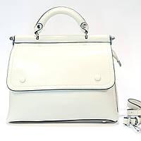 Женская белая сумочка из натуральной кожи средняя повседневная, фото 1