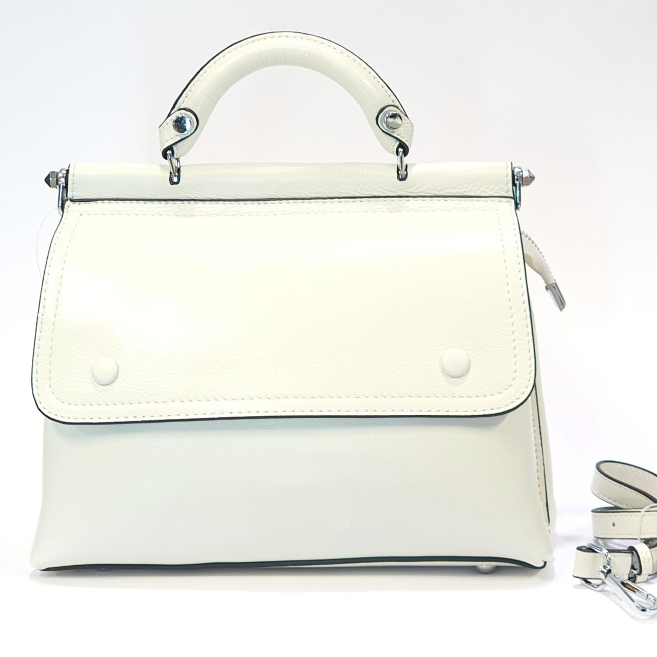 Женская белая сумочка из натуральной кожи средняя повседневная