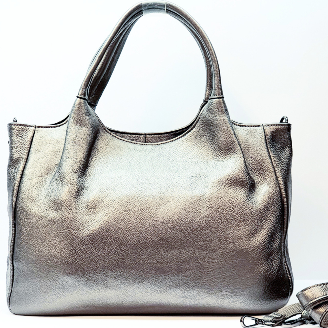 Женская серебряная сумка из натуральной кожи большая повседневная