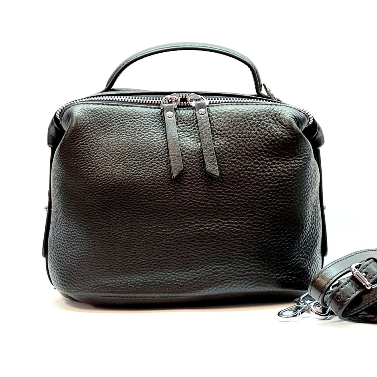 Женская сумка черная маленькая повседневная натуральная кожа