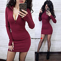Платье мини обтягивающее с декольте на молнии и рукавом, фото 2