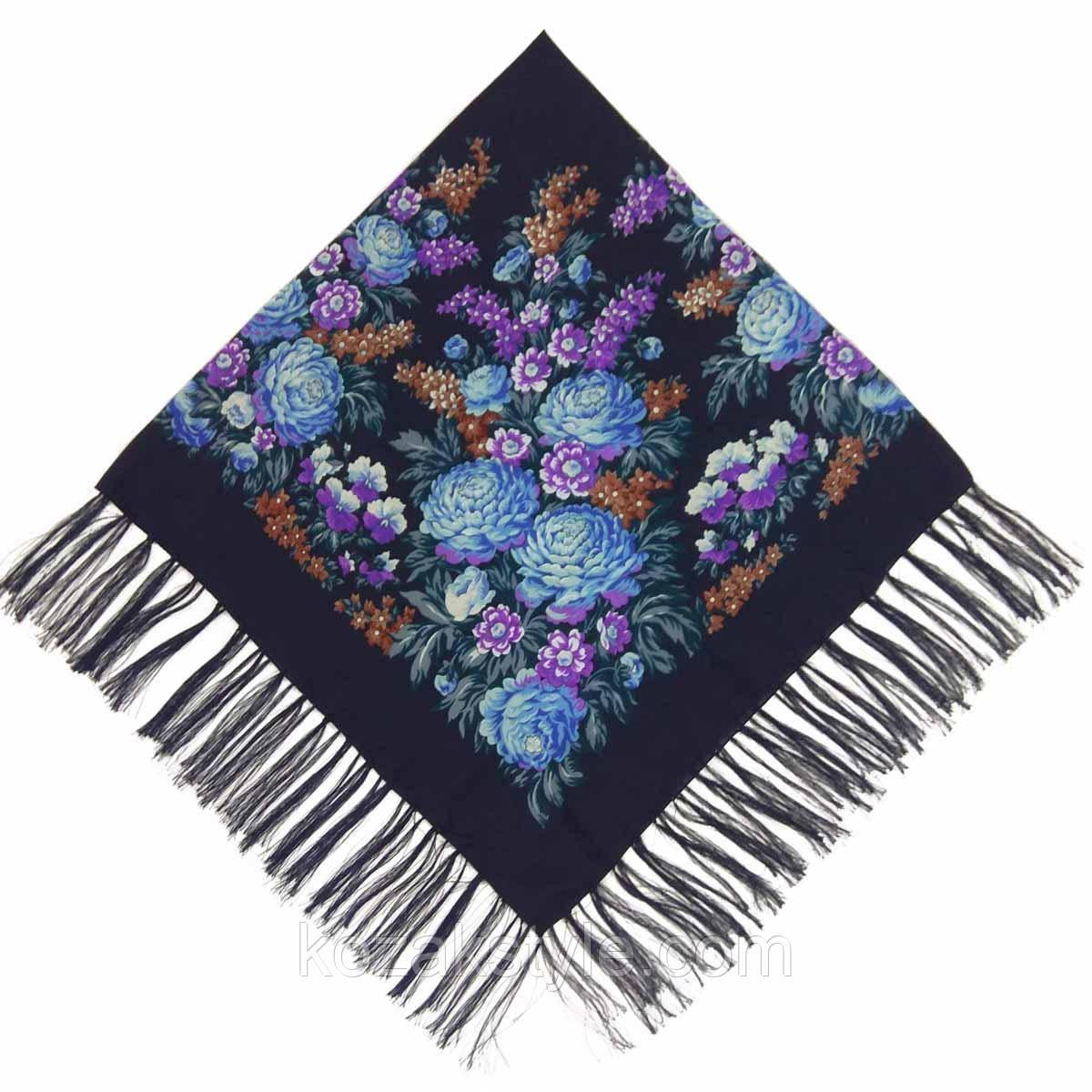 Хустка Квіти (120х120) синя (вади виробництва)