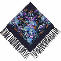 Хустка Квіти (120х120) синя (вади виробництва), фото 1