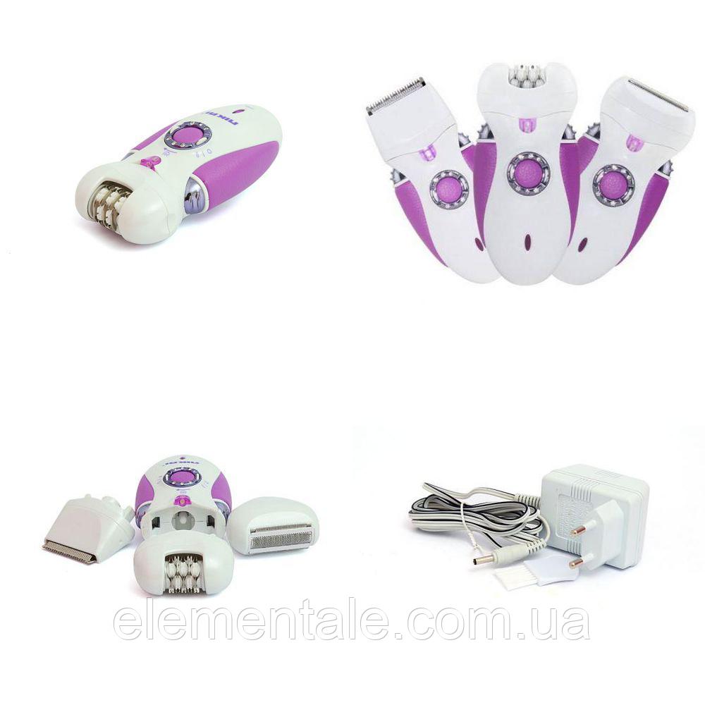 Эпилятор 3 в 1 Nikai 7698 с бритвенной насадкой Фиолетовый