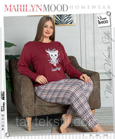 Пижама женская БАТАЛ длинные брюки с рукавом цвета хлопок 100% L-XL-2XL-3XL, фото 2