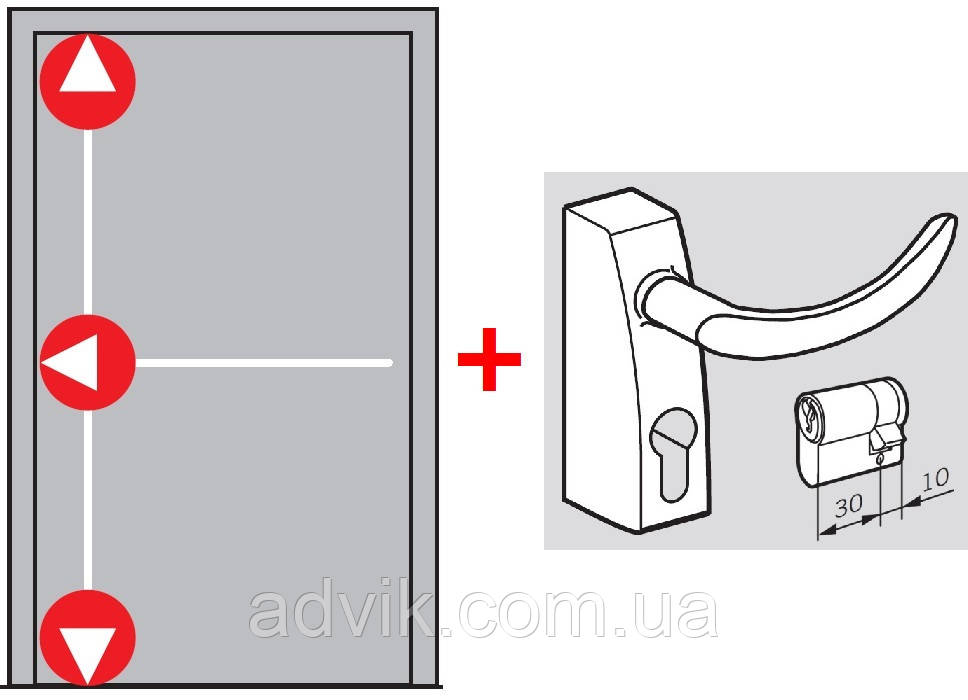Антипаника Dorma PHA 2000 для 1-створч. двери с горизонт. 1-точ. и вертик. 2-точ. запиранием с внешней ручкой