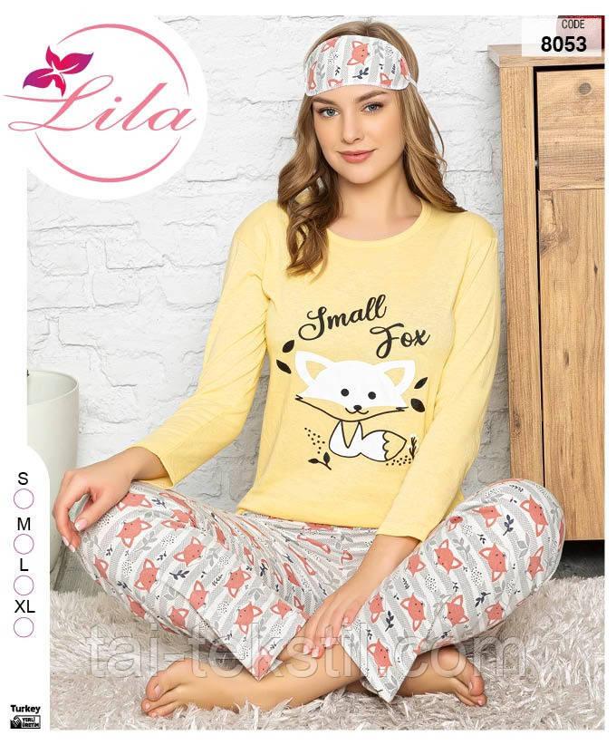 Пижама женская длинные брюки с рукавом хлопок 100% + маска S-M-L-XL