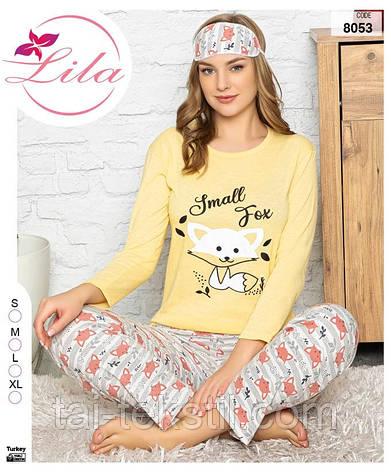 Пижама женская длинные брюки с рукавом хлопок 100% + маска S-M-L-XL, фото 2