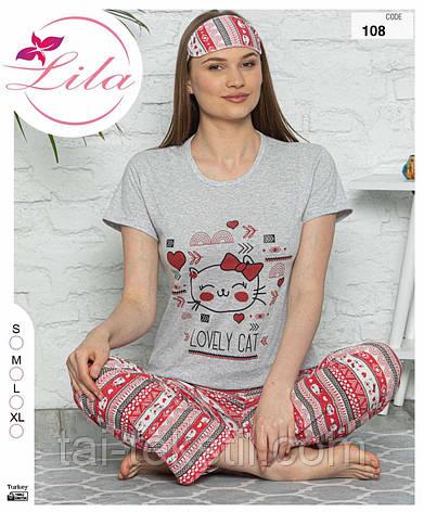 Пижама женская футболка и штаны хлопок 100% + маска S-M-L-XL, фото 2