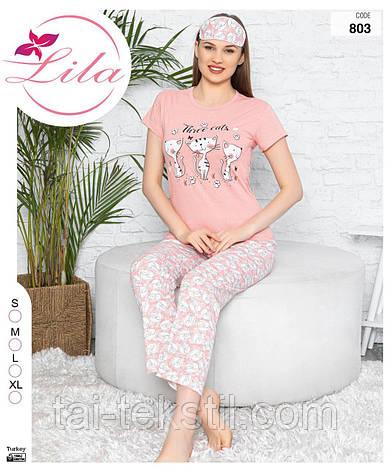 Ижама женская футболка и штаны хлопок 100% + маска S-M-L-XL, фото 2