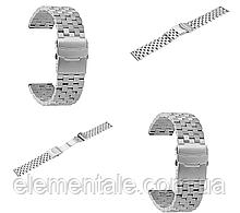 Ремешок BeWatch 22 мм стальной Quadro для Samsung Gear S3 Galaxy Watch 46mm Active 2 44mm Серебро