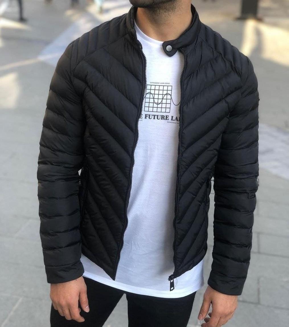 Куртка мужская весна-осень демисезонная без капюшона черная Турция. Живое фото. Чоловіча куртка осінь-весна