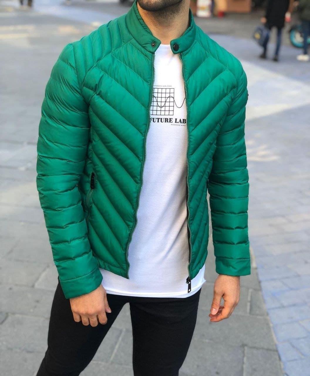 Куртка мужская весна-осень демисезонная без капюшона зеленая Турция. Живое фото. Чоловіча куртка осінь-весна