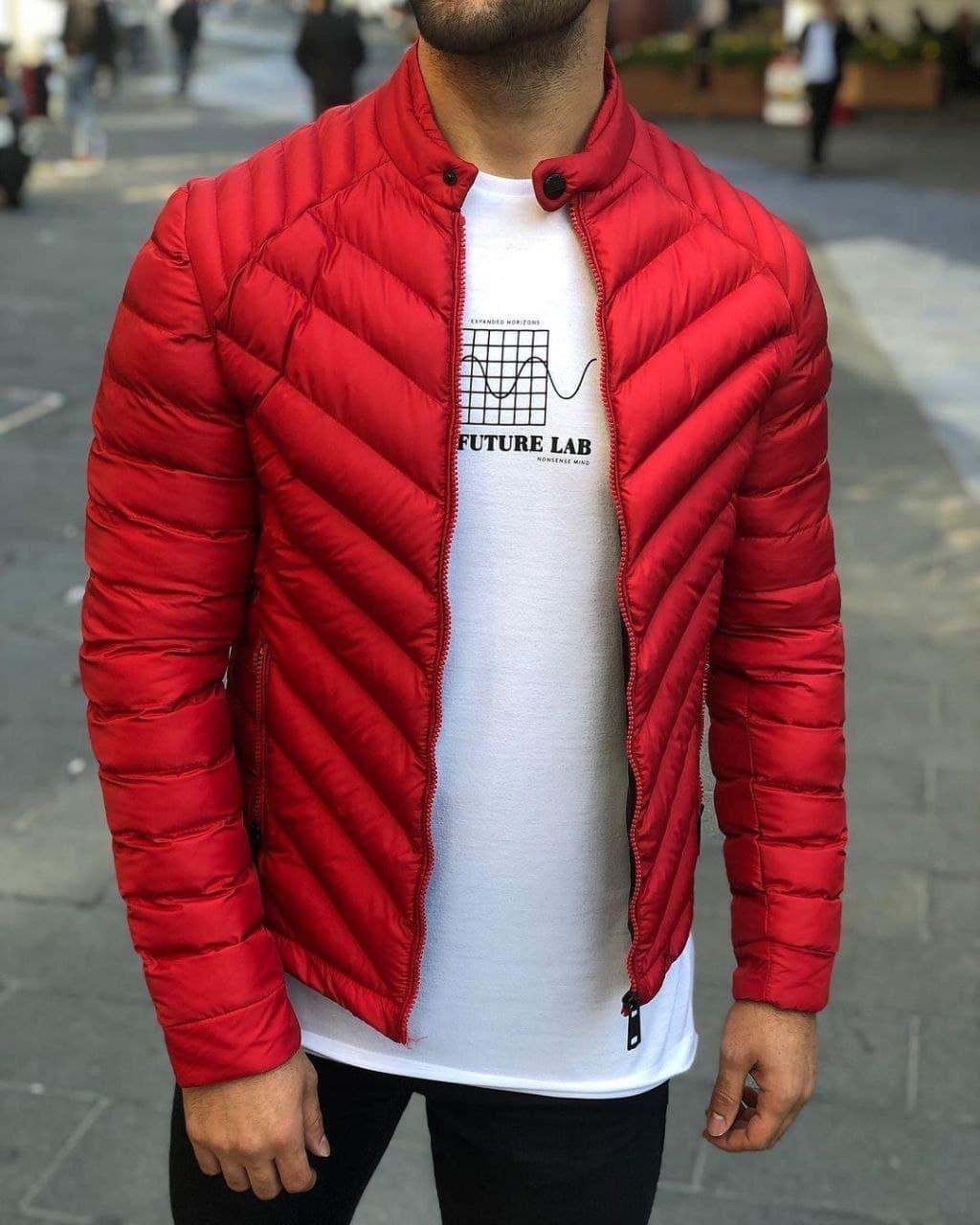 Куртка мужская весна-осень демисезонная без капюшона красная Турция. Живое фото. Чоловіча куртка осінь-весна