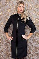 Женское строгое черное платье на молнии