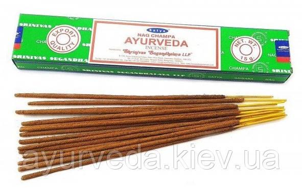 Благовония индийские натуральные Наг Чампа Аюрведа Nag Champa Ayurveda (15g) Satya