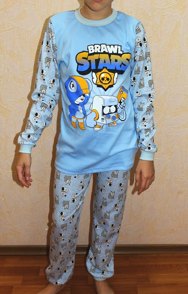 Пижама детская интерлок для мальчика голубой BRAWL STARS 30-40р.