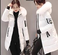 Женская зимняя куртка пуховик принт Disney с капюшоном манжетами декоративный съёмный мех р.46-48, фото 1