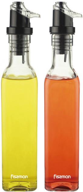 Набор из 2-х бутылок из стекла с дозатором 5х25см/250мл для масла и уксуса Fissman