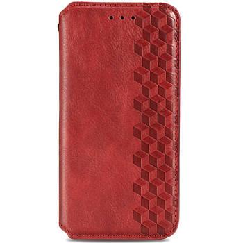 Кожаный чехол книжка GETMAN Cubic (PU) для Huawei P Smart (2021) / Y7a Красный