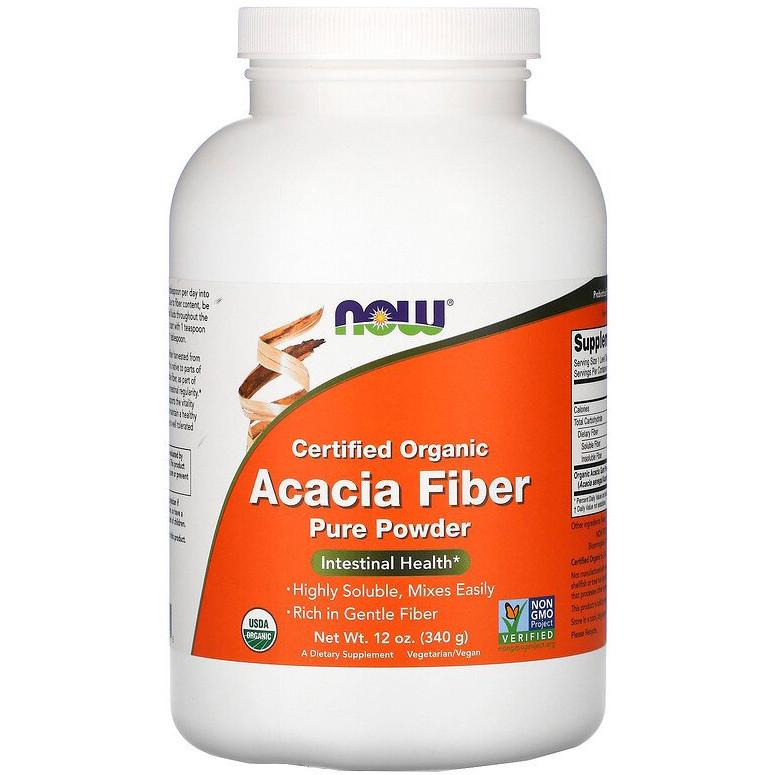 """Клетчатка акации NOW Foods """"Acacia Fiber Powder"""" натуральная клетчатка, чистый порошок (340 г)"""