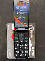 Кнопочный телефон красный с подставкой для зарядки и большим дисплеем Sigma Comfort 50 Shell DUO Black-Red