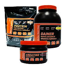 Эффективный масснабор Протеин Германия Карамель 2 кг + Гейнер 3 кг + Креатин в Подарок!