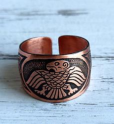 Медное  кольцо этническое  с изображением  орла