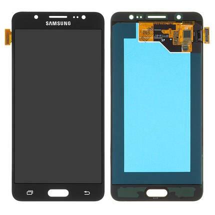 Дисплей (екран) для Samsung J510G Galaxy J5 (2016) з сенсором (тачскріном) чорний Оригинал переклеено стекло, фото 2