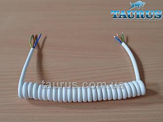Кабель спиральный белый White для электроприборов с заземлением. Длина от 30 до 150 см. Медь 3х0.75; до 2200W