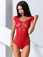 Эротическое боди с вырезом BS 064 TM Passion (Польша) Размер S/L Цвет красный, фото 1