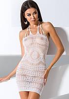 Эротическое платье-сеточка BS 063 TM Passion (Польша) Размер S/L Цвет белый, фото 1