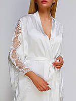 Шелковый халат 111 от TM Serenade (Украина) Цвет молочный, фото 1