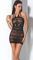 Эротическое платье-сеточка BS 063 TM Passion (Польша) Размер S/L Цвет черный Черный