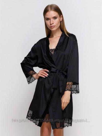 Халат женский шелк 701 от TM Serenade (Украина) Цвет черный S
