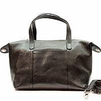 Женская черная сумка из натуральной кожи средняя повседневная, фото 1