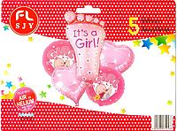 """Набор фольгированных шаров """"Это девочка"""", 5 шт"""