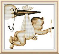 Аист с младенцем   Набор для вышивки крестом канва 14ст