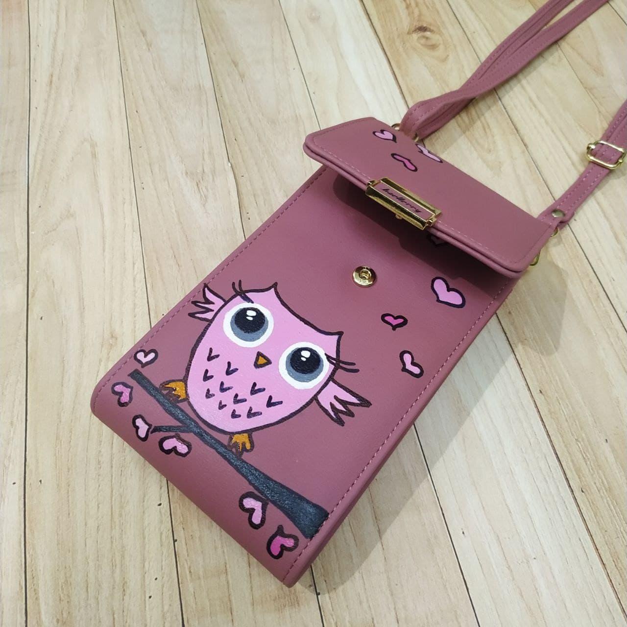 Женская сумочка для телефона. Совушка, лиловая. Стильная, яркая, ручная роспись