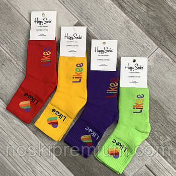 Новорічні шкарпетки жіночі махрові бавовна Happy Socks, Туреччина, розмір 36-40, асорті, 01026