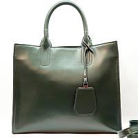 Женская изумрудная сумочка из натуральной кожи большая повседневная, фото 1