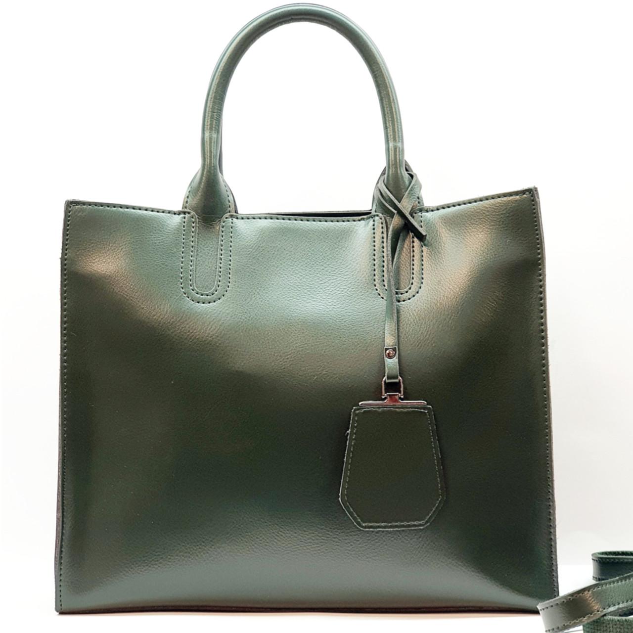 Женская изумрудная сумочка из натуральной кожи большая повседневная