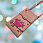 Женская сумочка для телефона. Совушка, голубая. Стильная, яркая, ручная роспись, фото 10