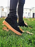Nike Air Force Winter Black мужские зимние кроссовки в стиле Найк Аир Форс черные с мехом